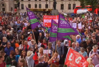 Crowds rally for Corbyn outside Parliament