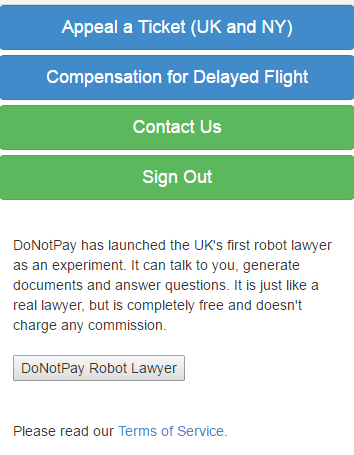 DoNotPay parking fine chat bot
