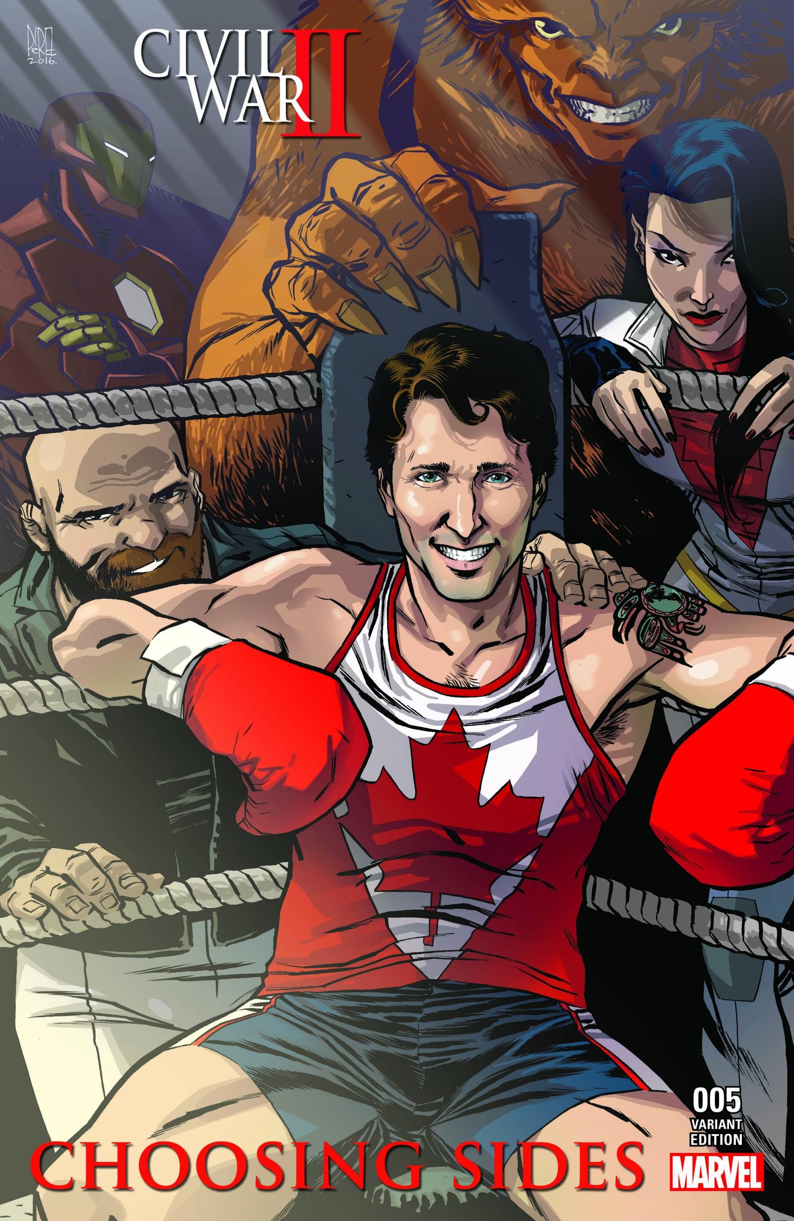 Justin Trudeau on comic book cover