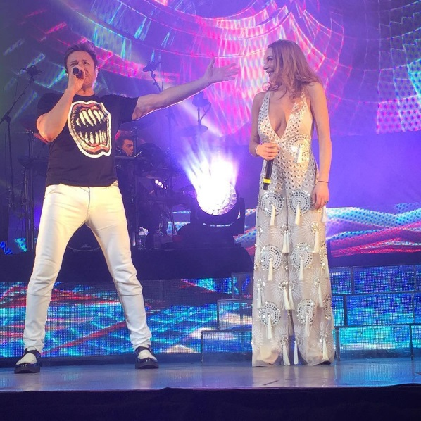 Lindsay Lohan onstage with Duran Duran