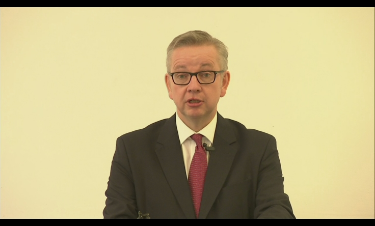 Michael Gove gives running speech