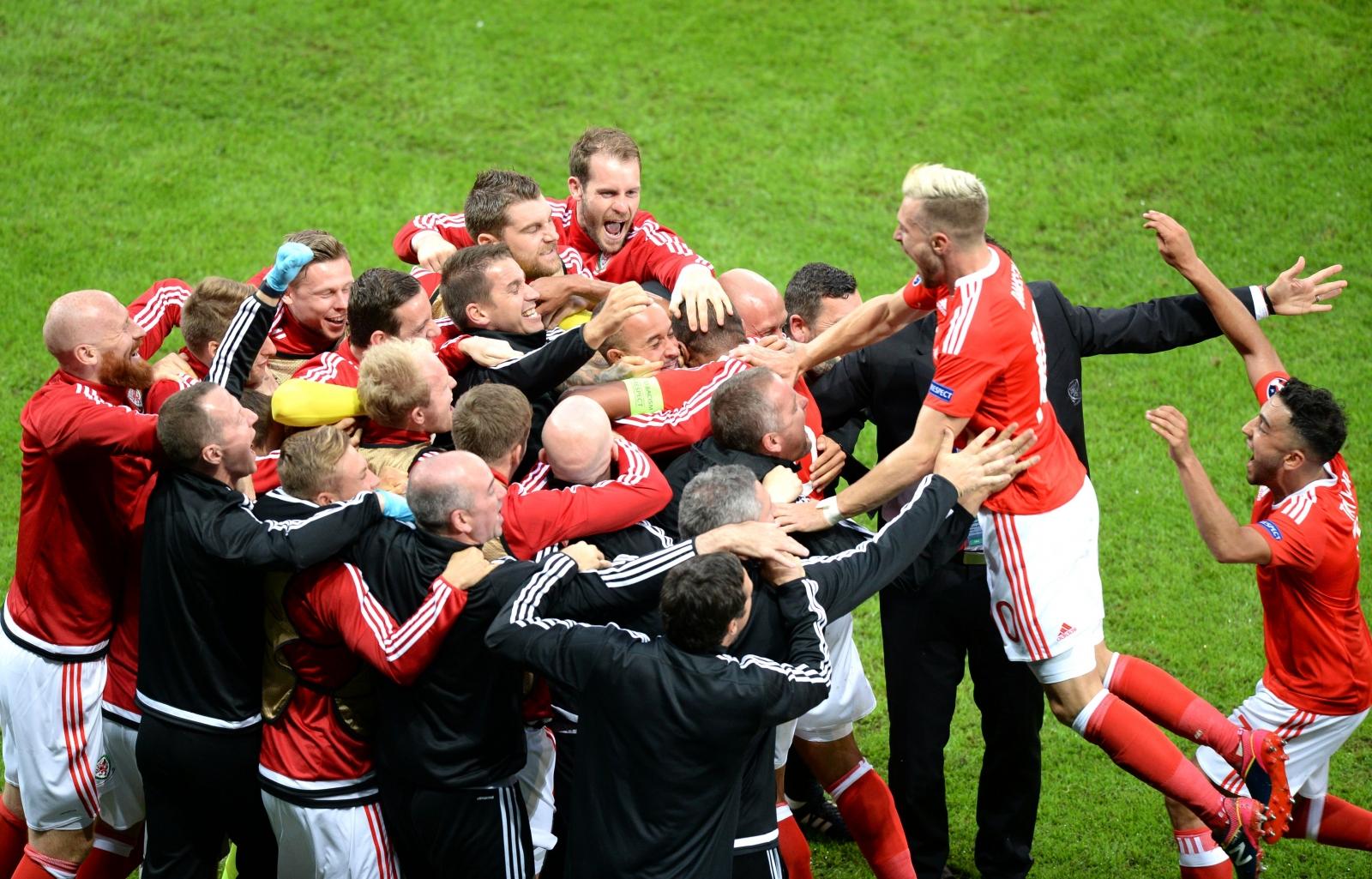 Wales celebrate their goal