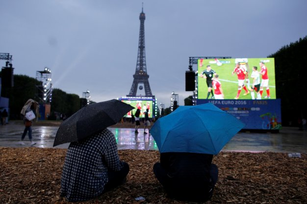 Fans watch the game in Paris