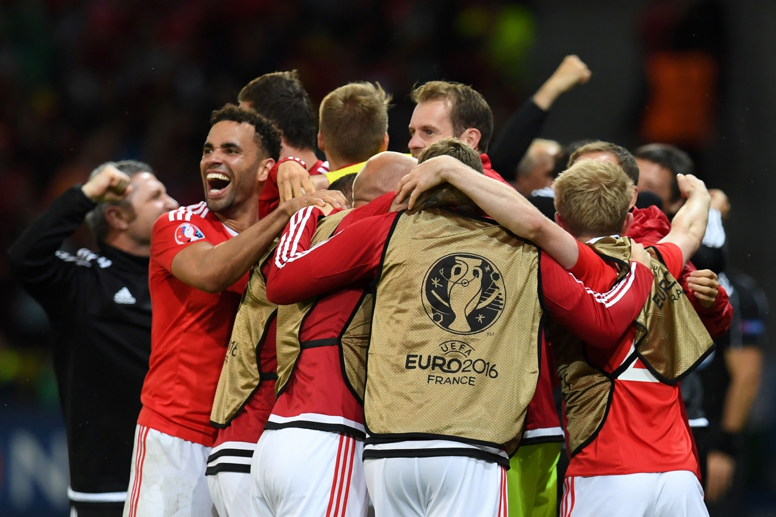 Wales celebrate in Lille