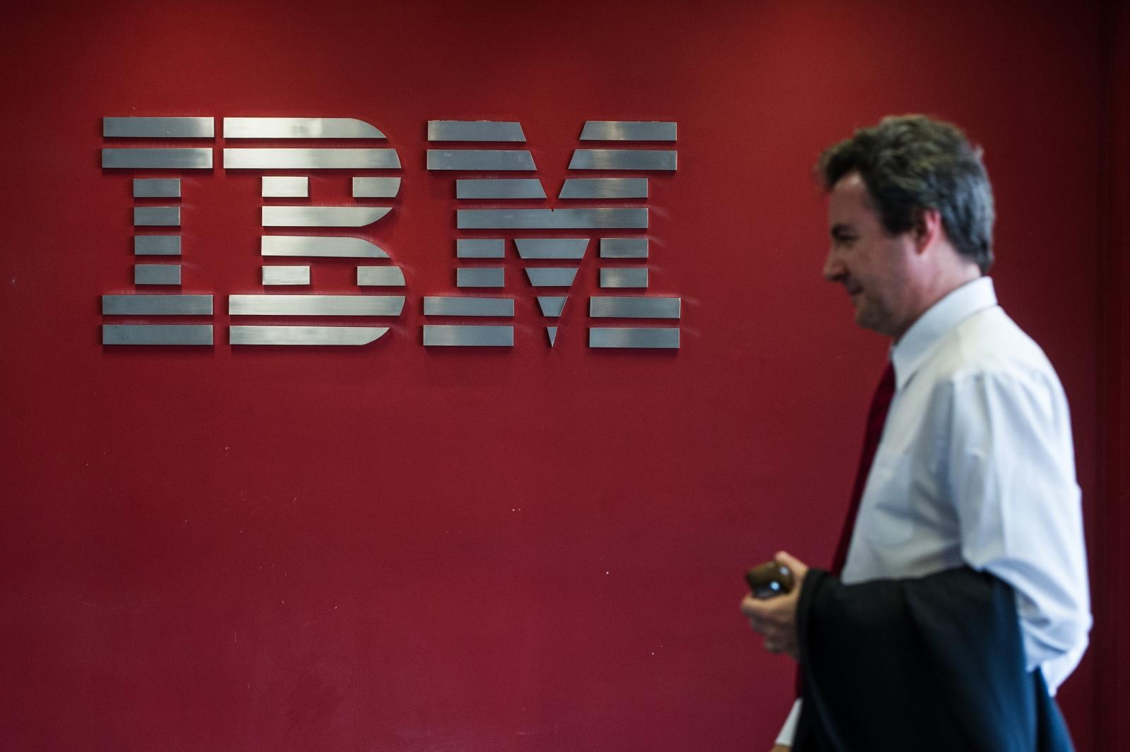 IBM logo and staffer
