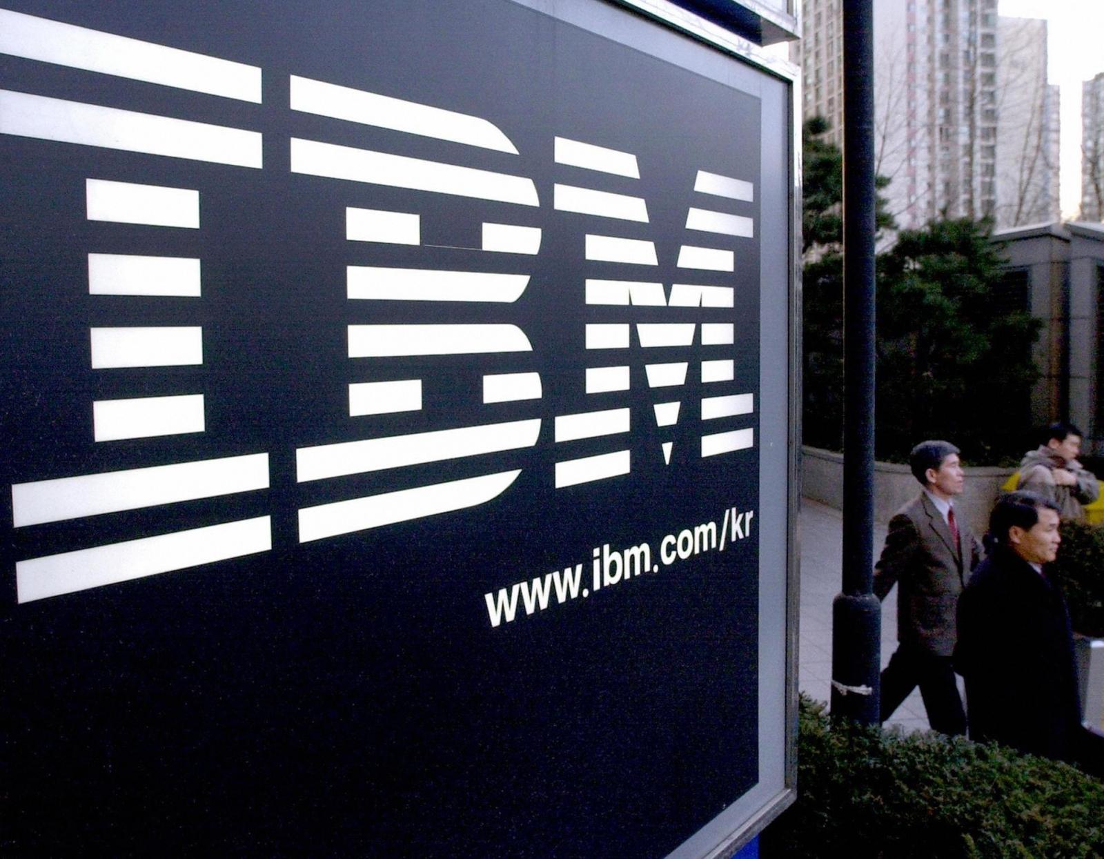 IBM logo and pedestrians