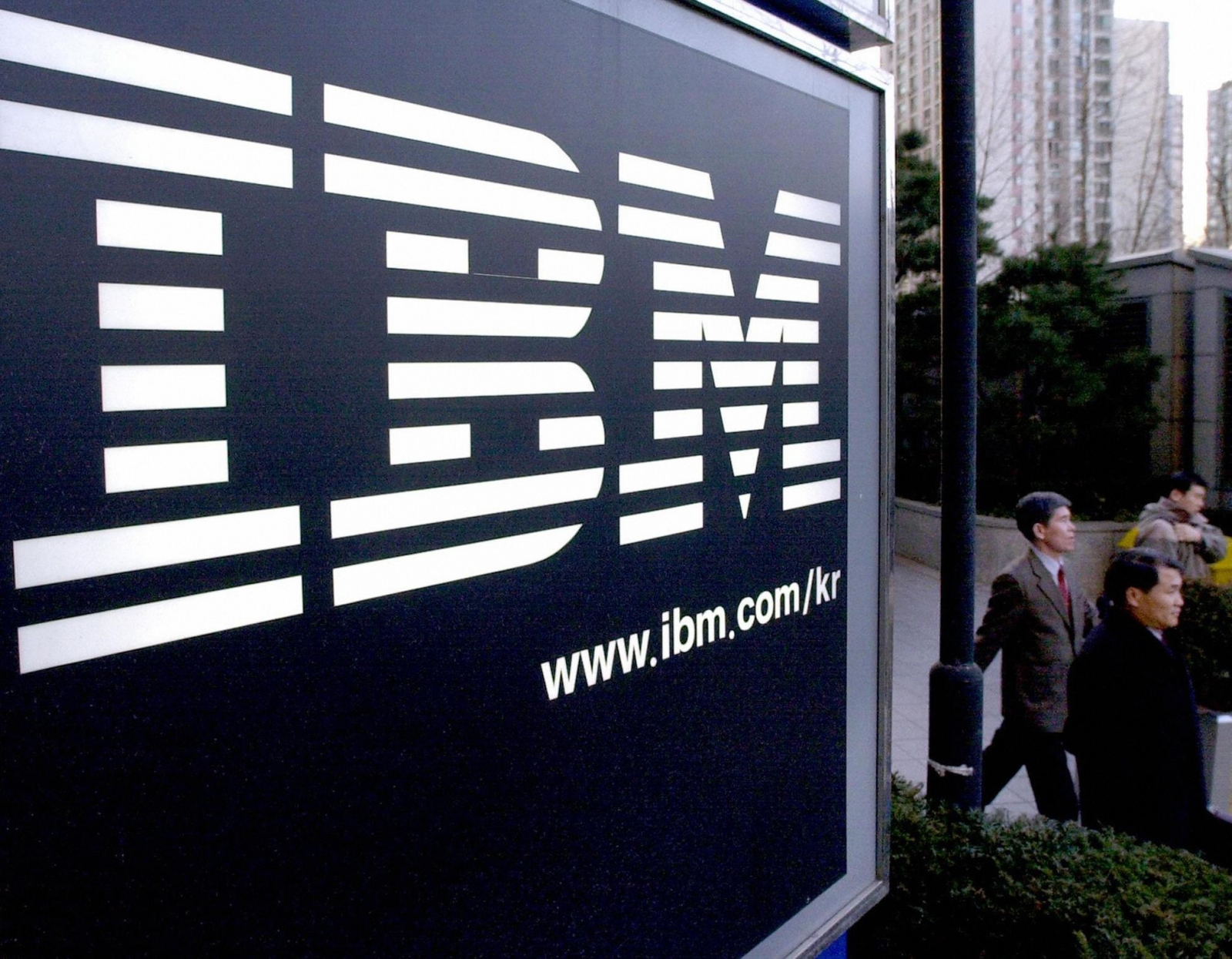 IBM logo and pedestrians