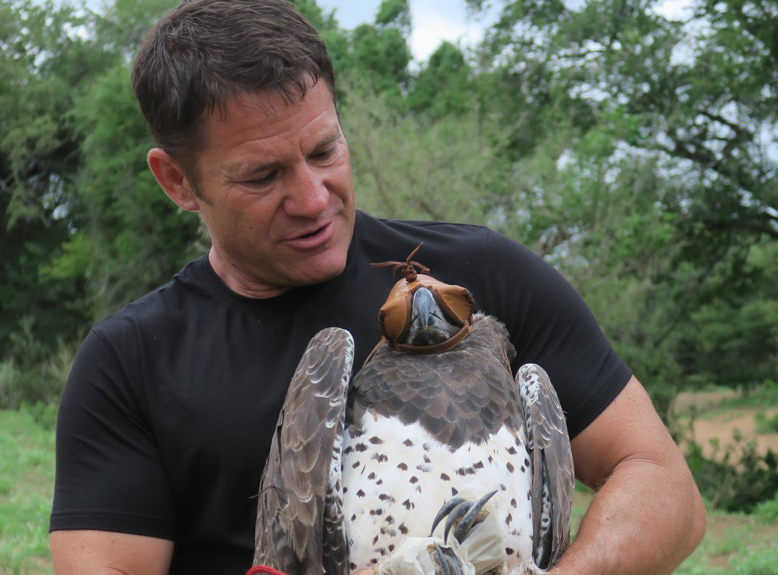 Steve Backshall with a Martial Eagle