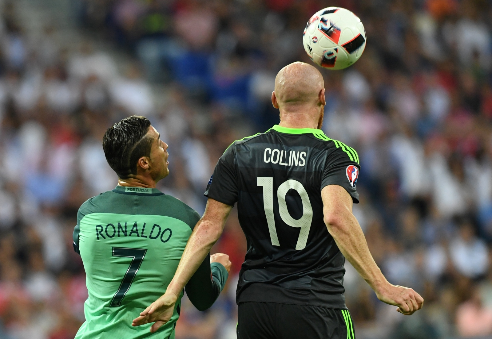 Collins beats Ronaldo in the air