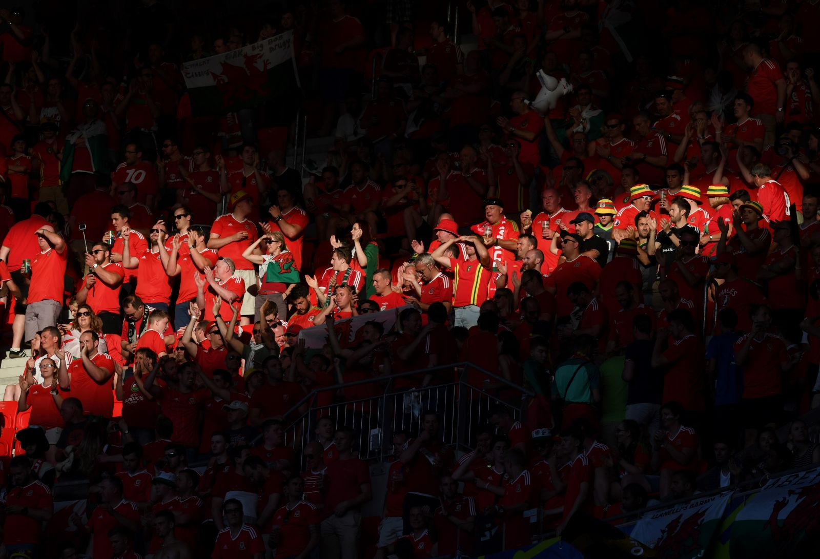 Welsh fans inside the ground