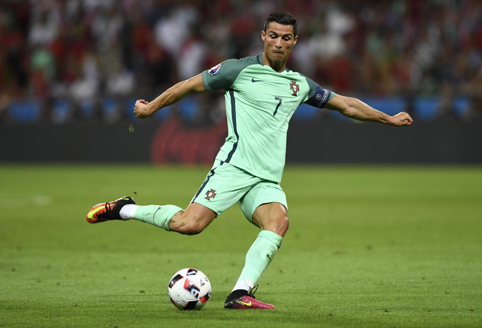 Ronaldo shoots at goal