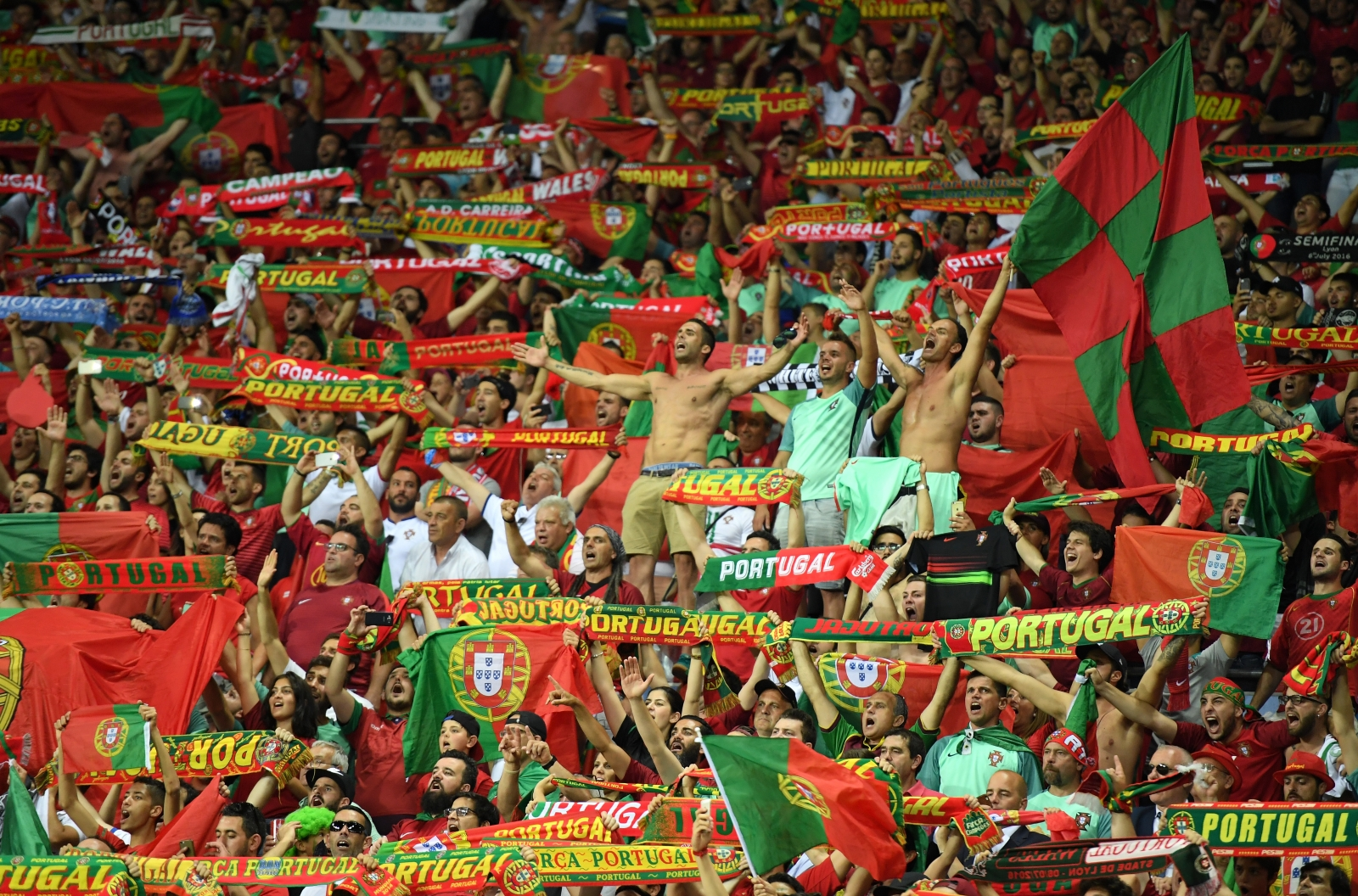 Portugal fans cheer their side on