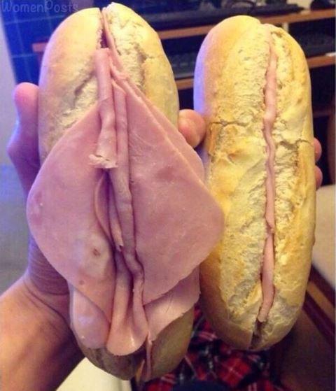 Two ham sandwiches