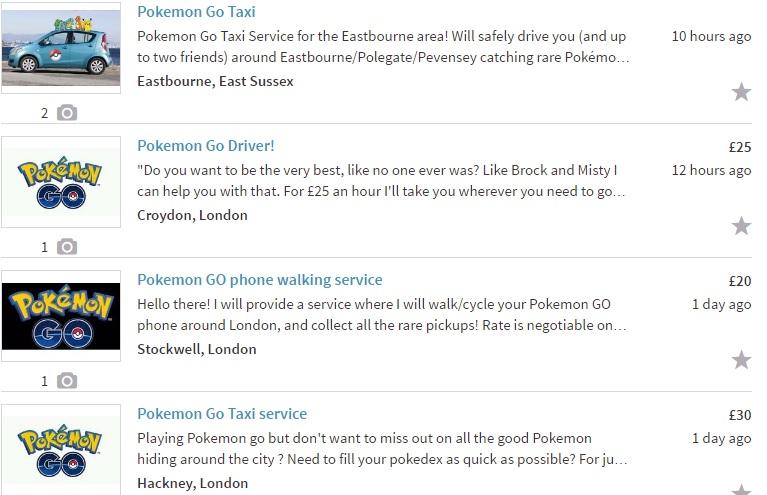 Pokemon Go Gumtree ads