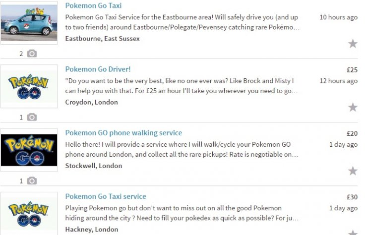 Pokemon Go Gumtree ads