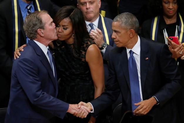 bush obama dallas memorial 2016