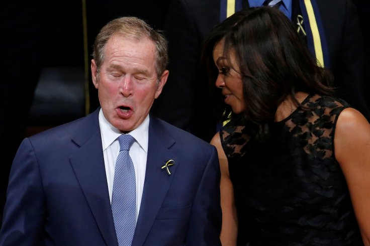 Twitter mocks George Bush for dancing during Dallas memorial service
