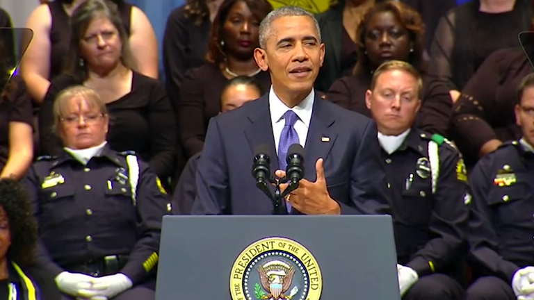 Obama insists 'we are not as divided as we seem' in speech after Dallas police killings