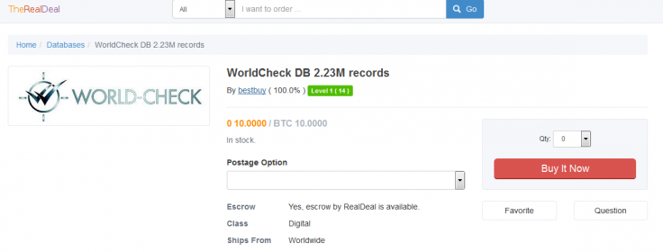 World-Check database for sale on Dark Web