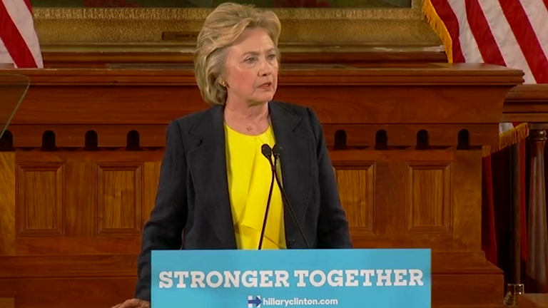 Clinton: Trumps campaign is and 'ugly, dangerous message to Amercia'