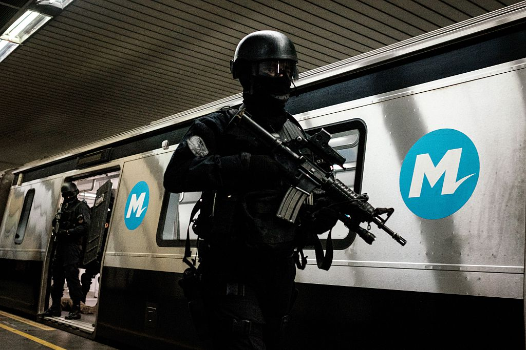 Brazilian police officers train for security measures and emergency situations in coordination with the French national police (REID) before the Rio 2016 Olympic and Paralympic Games, in a subway station in Rio de Janeiro,
