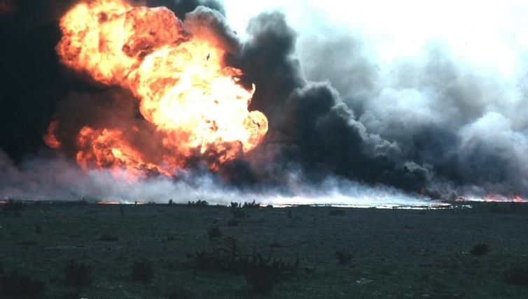 Oil field on fire