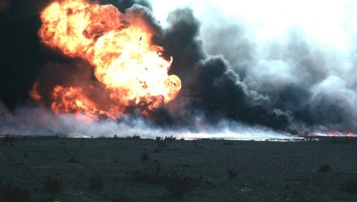 Oil field on fire