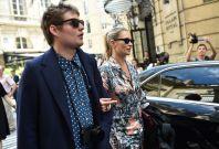 Kate Moss and Nikolai Von Bismarck are seen leaving Louis Vuitton Fashion Show