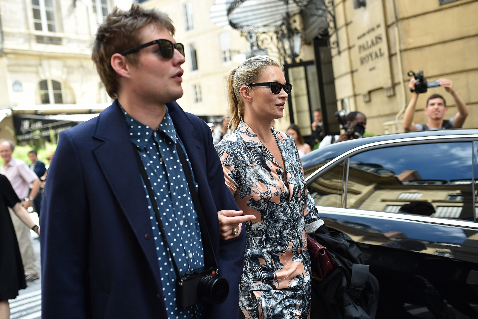 Kate Moss and Nikolai Von Bismarck are seen leaving Louis Vuitton Fashion Show