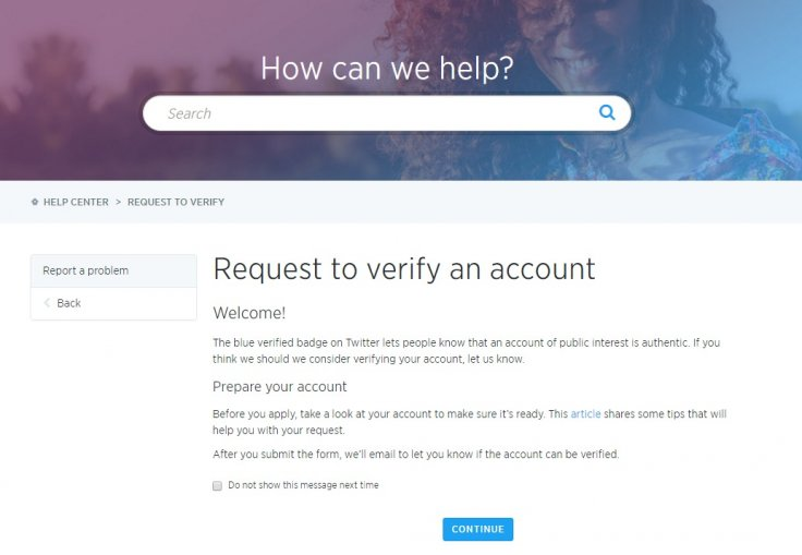 Twitter verification form