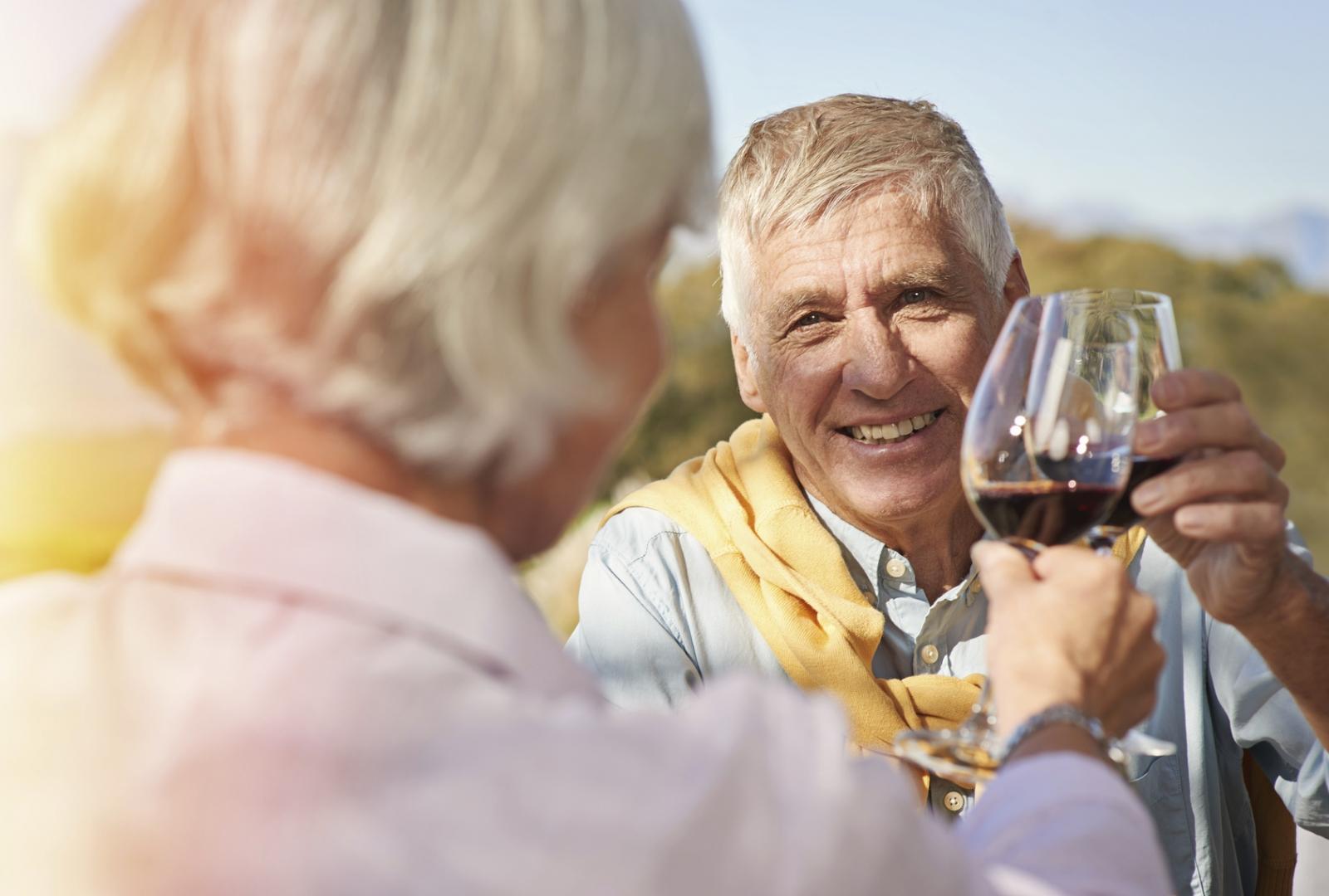 elderly couple drinking