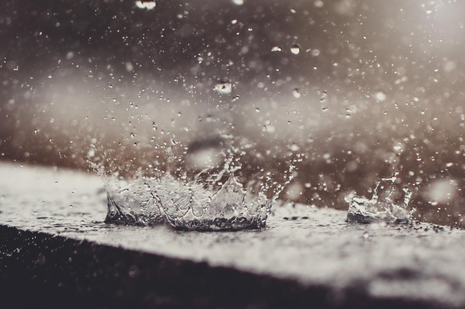 Raindrops hit a surface