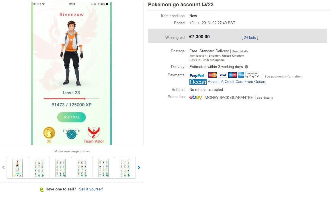 Pokemon Go account on eBay
