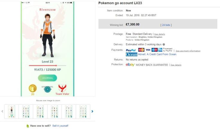 Pokemon Go account on eBay