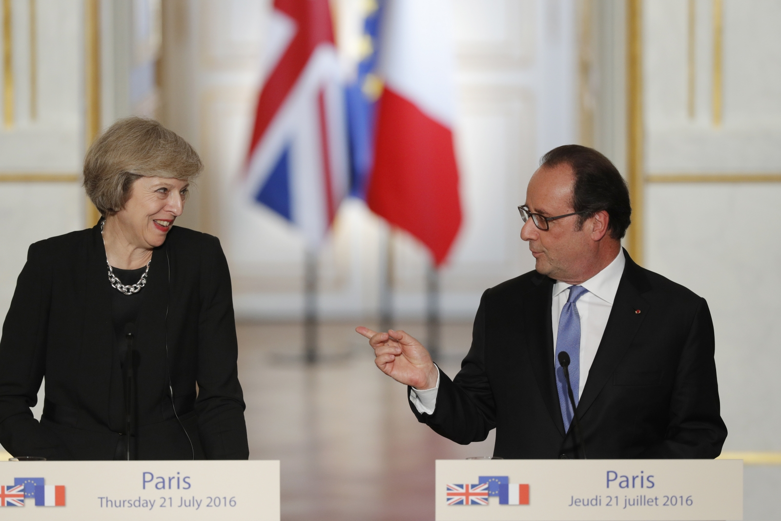 Theresa May Francois Hollande conference
