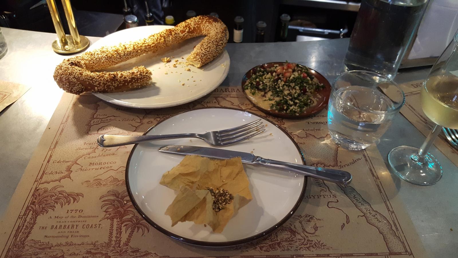 Jerusalem bagel, za'atar, tabouleh at the Barbary