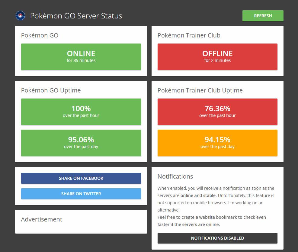 Pokemon Go server status at 1pm BST
