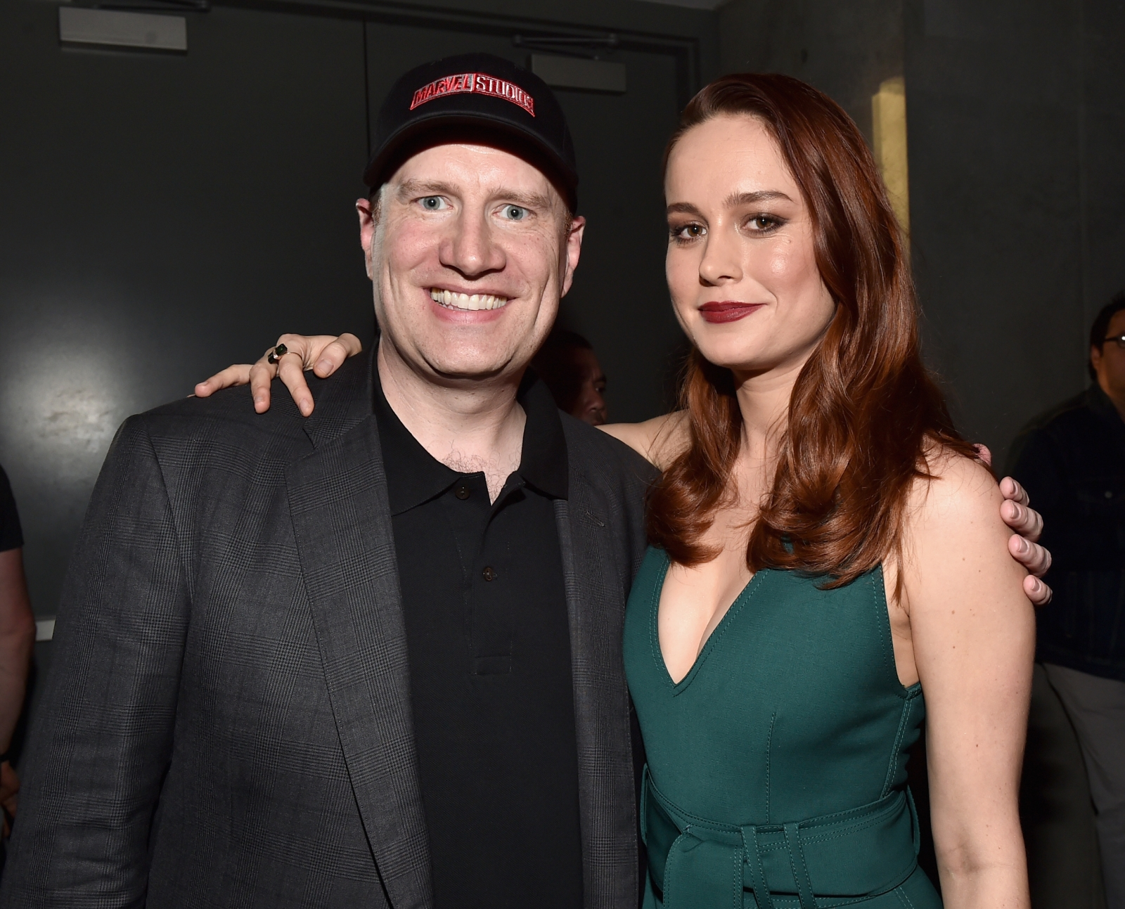 Kevin Feige and Brie Larson