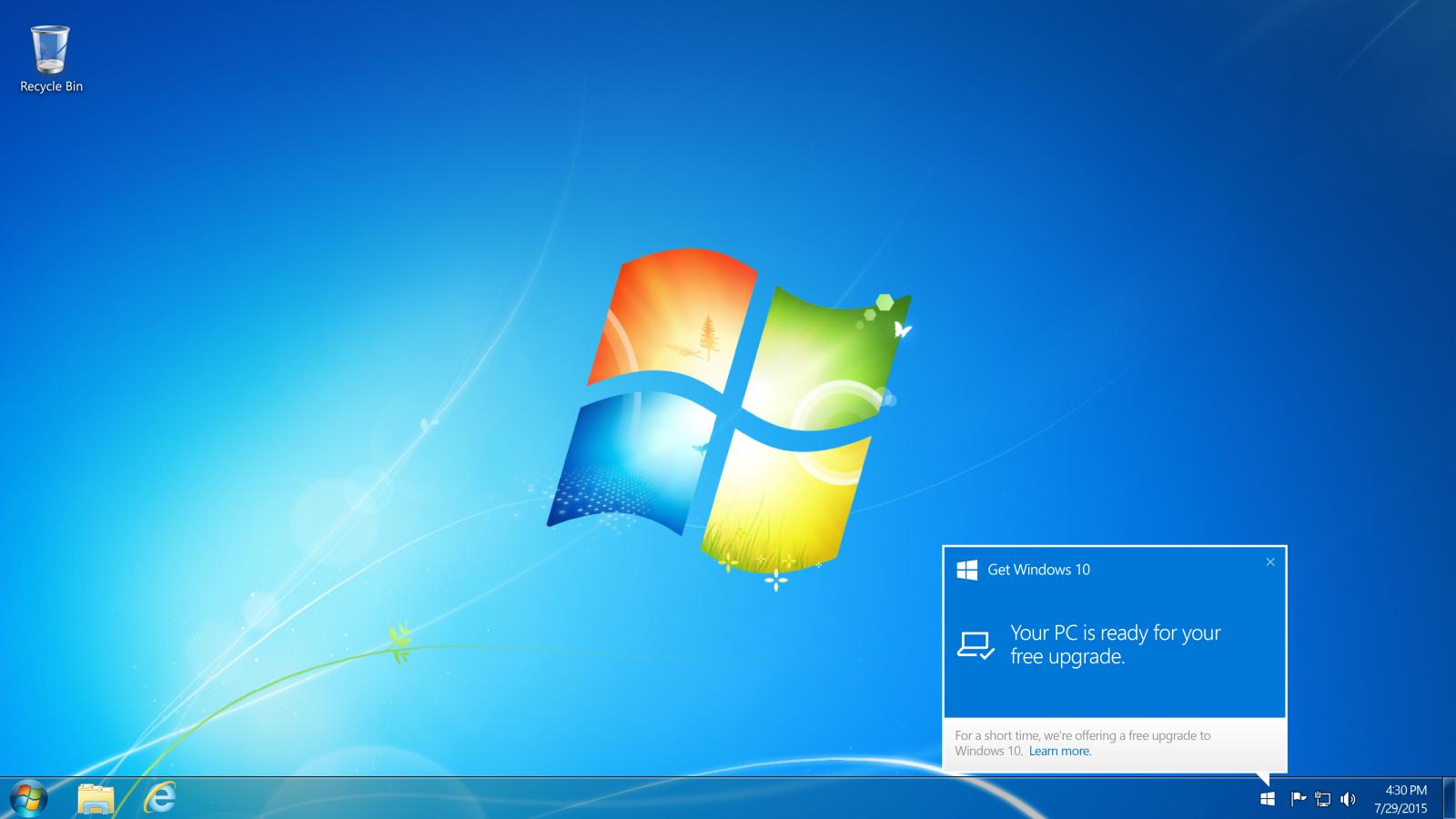 Windows 10 upgrade notification