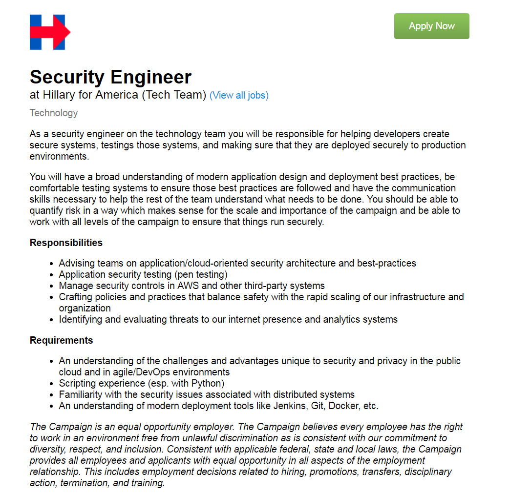 Hillary for America seeks security engineer