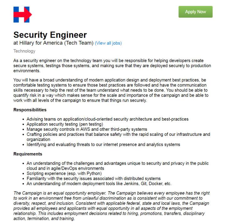Hillary for America seeks security engineer