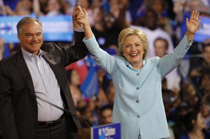 Hillary Clinton and VP running mate Tim Kaine