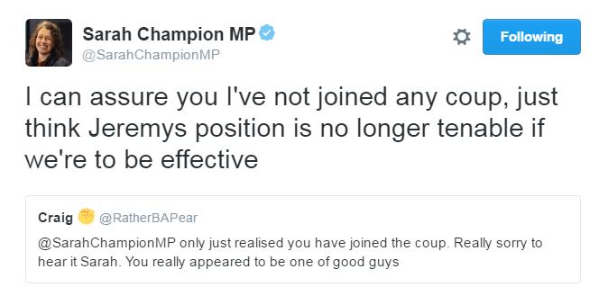 Sarah Champion tweet