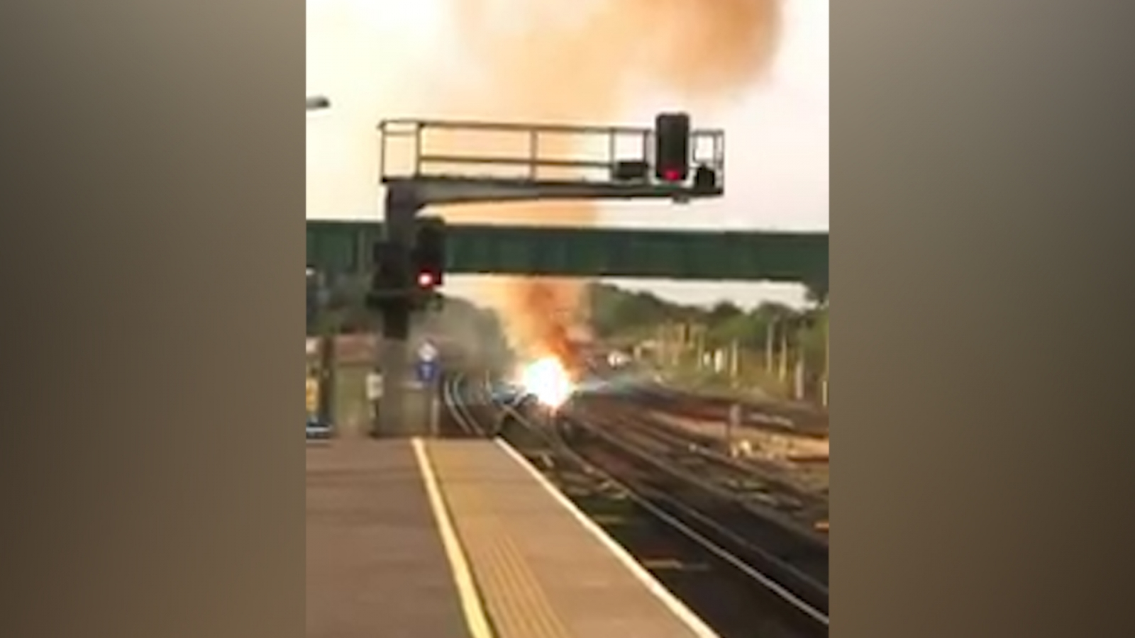 Fire on track at gatwick