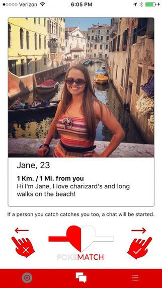 PokeMatch dating app swipe