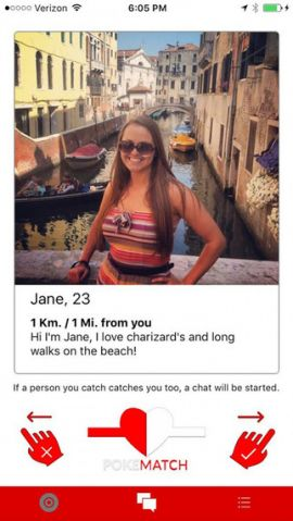 PokeMatch dating app swipe