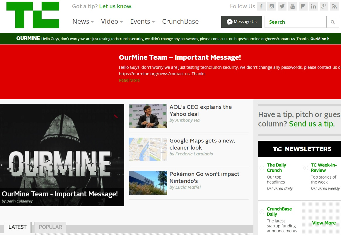 TechCrunch Homepage hacked