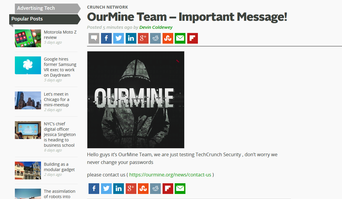 TechCrunch website defaced