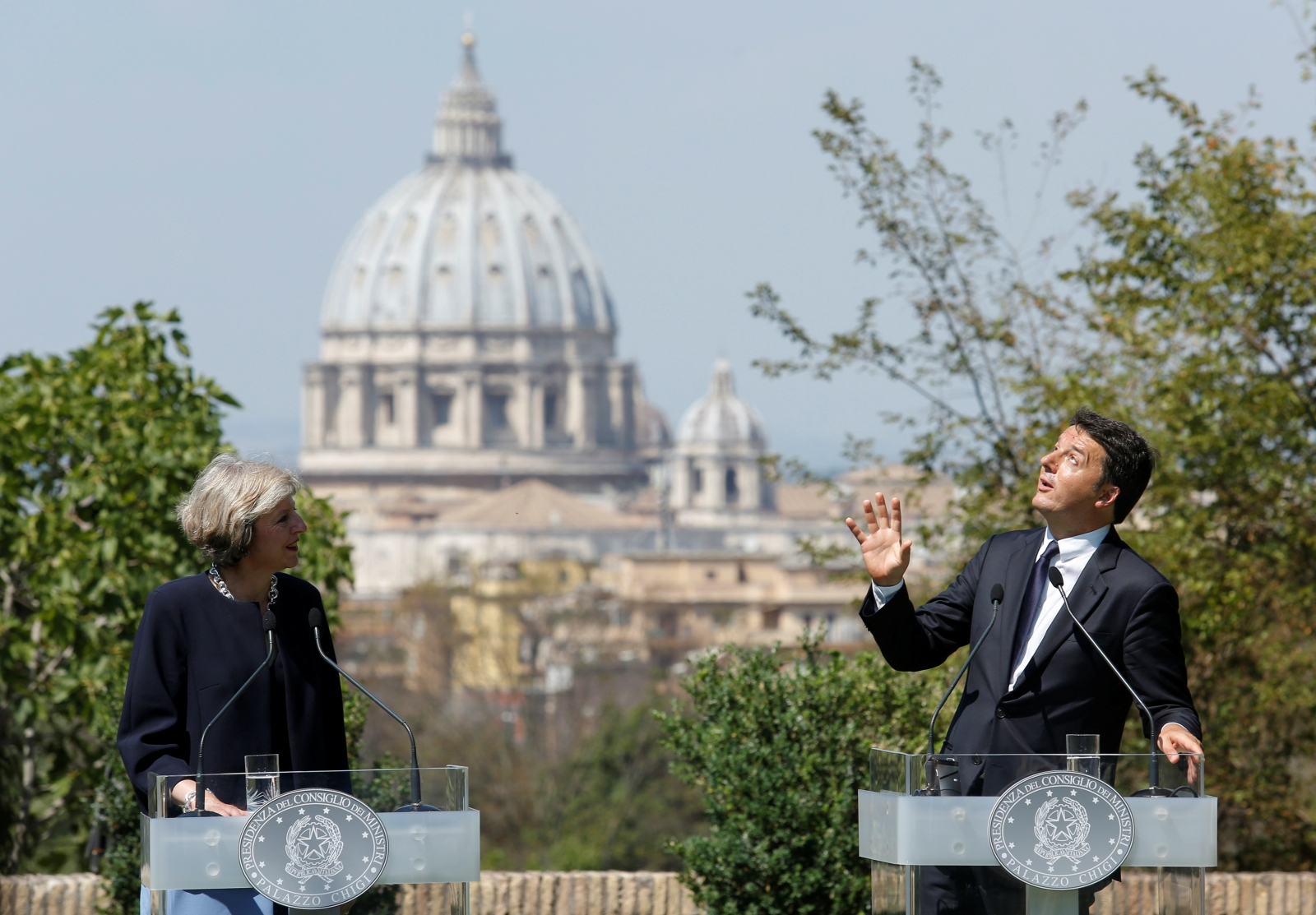 Theresa May and Matteo Renzi