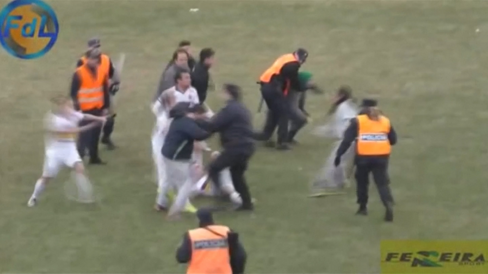 Argentina football match turns into brawl